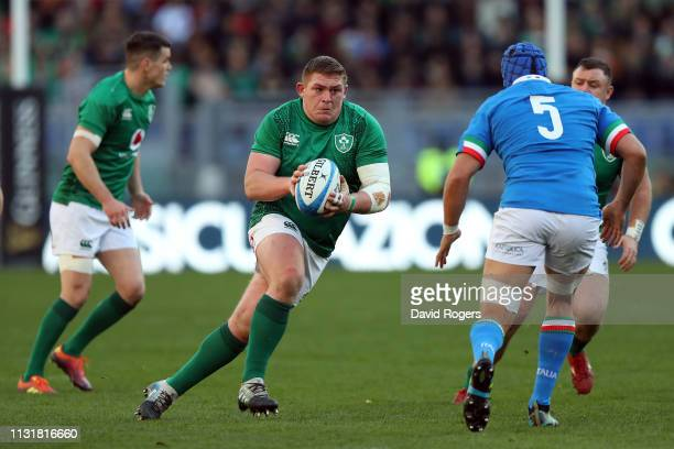 Tadhg Furlong of Ireland runs wth the ball during the Guinness Six Nations match between Italy and Ireland at Stadio Olimpico on February 24 2019 in...