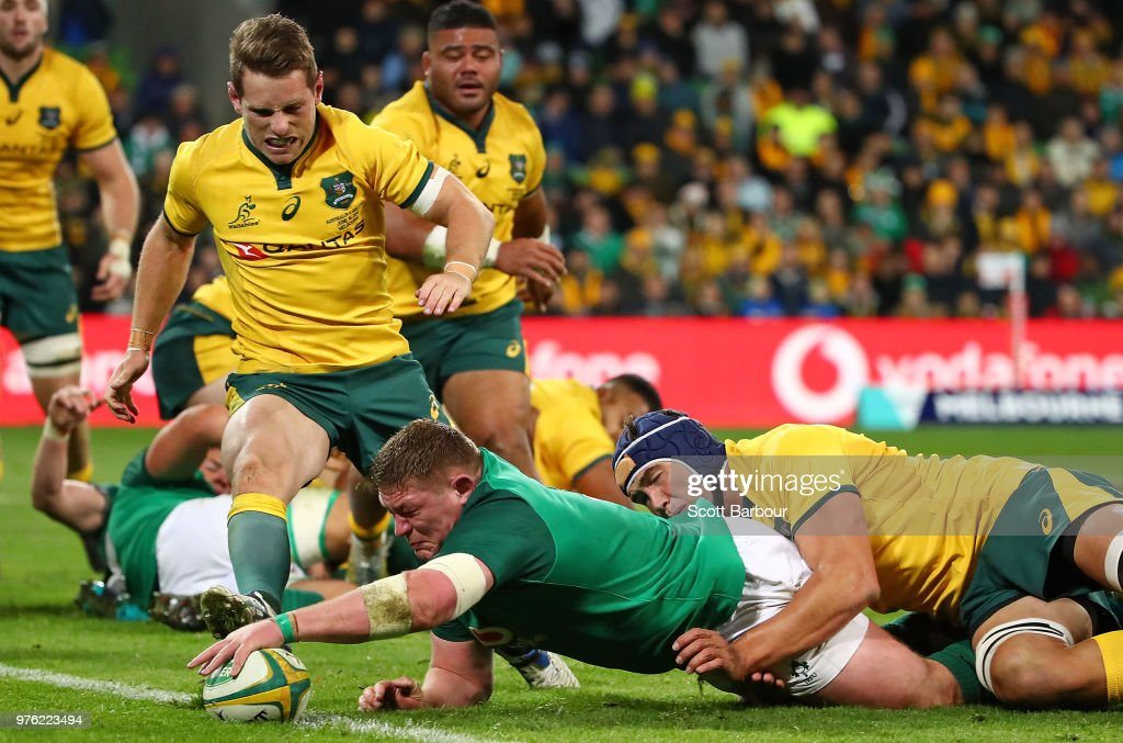 Tadhg Furlong of Ireland scores a try during the International test match between the Australian Wallabies and Ireland at AAMI Park on June 16, 2018 in Melbourne, Australia.