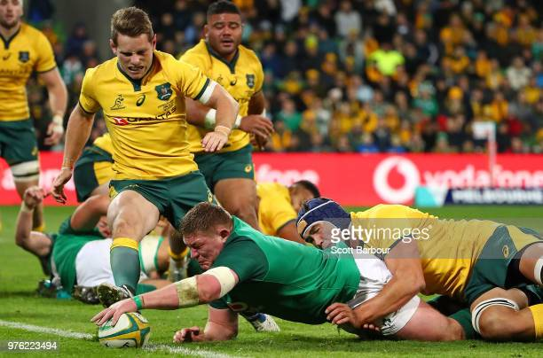 Tadhg Furlong of Ireland scores a try during the International test match between the Australian Wallabies and Ireland at AAMI Park on June 16 2018...