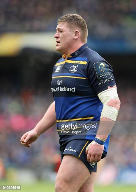 Tadhg Furlong of Leinster looks on during the European Rugby Champions Cup quarter final match between Leinster Rugby and Saracens at the Aviva...