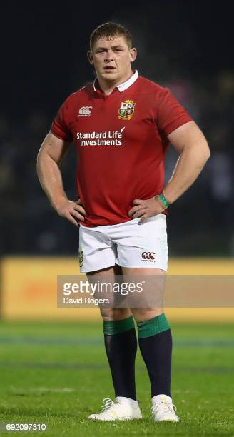 Tadhg Furlong of the Lions looks on during the match between the New Zealand Provincial Barbarians and the British Irish Lions at Toll Stadium on...