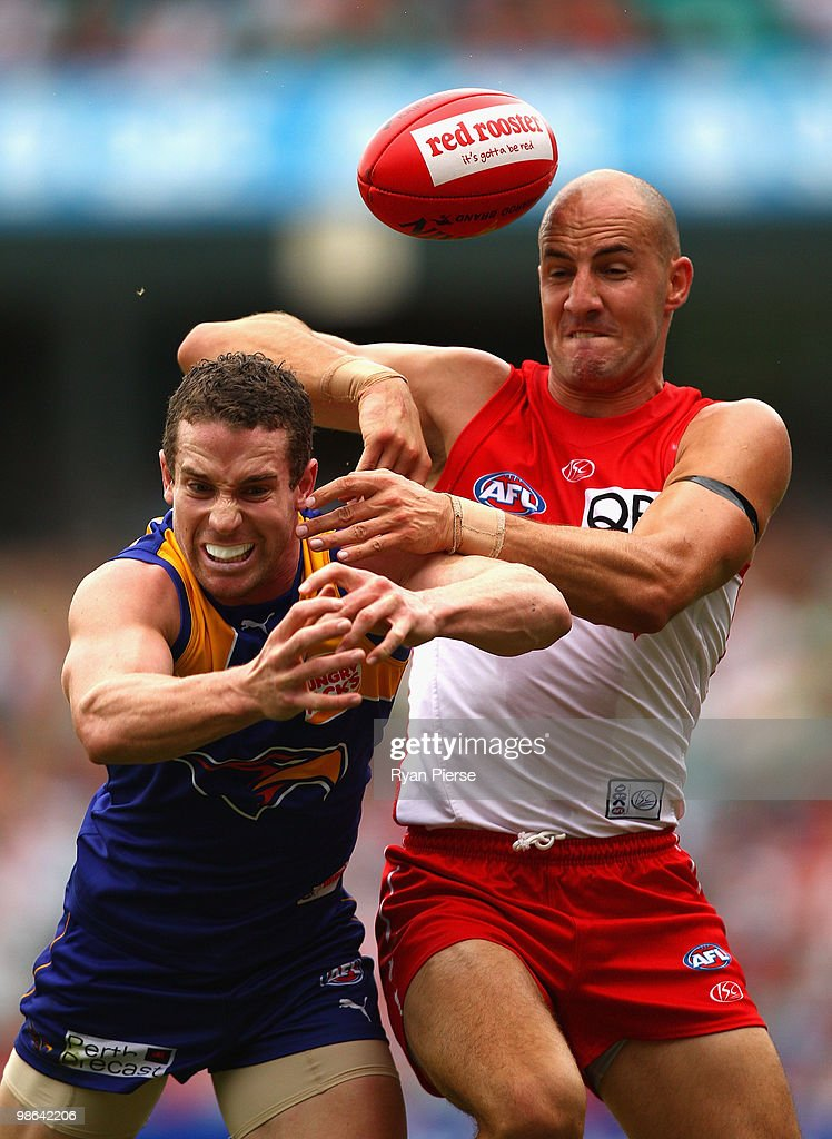 Tadhg Kennelly of the Swans competes for the ball against Ashton Hams of the Eagles during the round five AFL match between the Sydney Swans and the West Coast Eagles at the Sydney Cricket Ground on April 24, 2010 in Sydney, Australia.