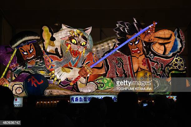 A taditional Nebuta float is on display during the eve of the Nebuta summer festival in Aomori city Aomori prefecture on August 1 2015 Millions of...
