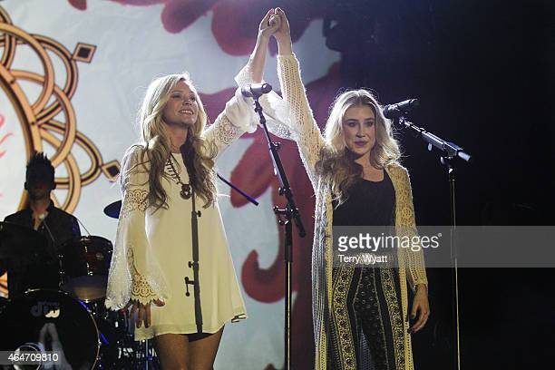 Tae Dye and Maddie Marlow of Maddie Tae perform during the New Faces of Country at CRS 2015 on February 27 2015 at the in Nashville Tennessee