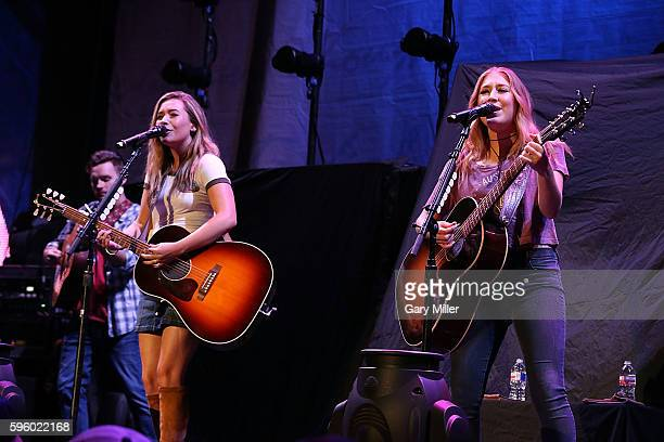 Tae Dye and Maddie Marlow of Maddie Tae perform in concert at HEB Center at Cedar Park on August 26 2016 in Cedar Park Texas