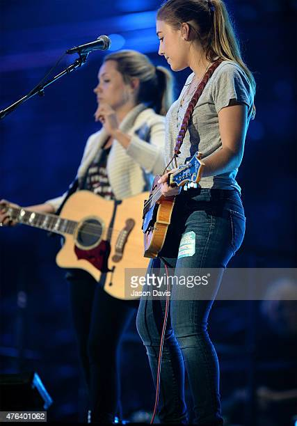 Tae Dye and Maddie Marlow of Maddie Tae perform onstage during the 2015 CMT Music Awards Rehearsals Day 1 at the Bridgestone Arena on June 8 2015 in...