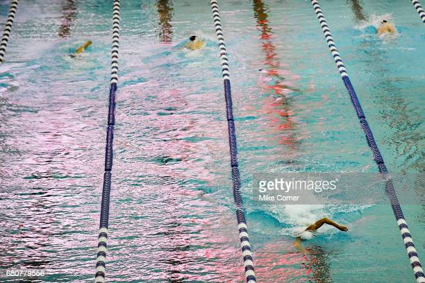 Tae Hwan Park swims in the opposite direction of his competition after building a sizable lead in the Men's 1500m Freestyle during day four of the...