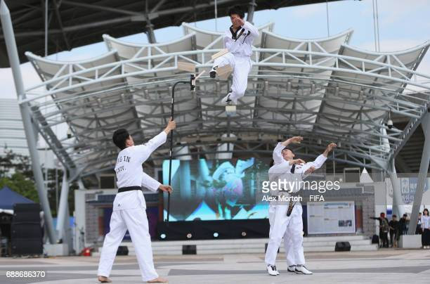 Tae Kwon Do demonstration outside the stadium prior to the FIFA U-20 World Cup SKorea Republic 2017 group B match between Mexico and Venezuela at...
