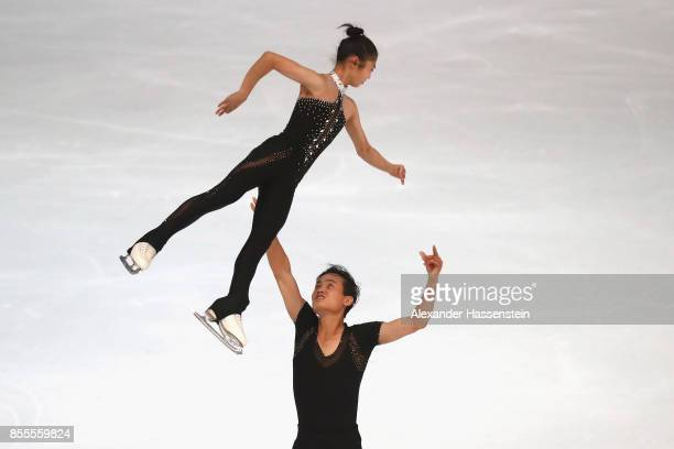 Tae Ok Ryom and Ju Sik Kim of DPR Korea performs at the Pairs free skating during the 49. Nebelhorn Trophy 2017 at Eishalle Oberstdorf on September...