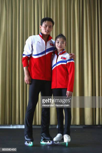Tae Ok Ryom and Ju Sik Kim of DPR Korea pose for a picture during the 49 Nebelhorn Trophy 2017 at Eishalle Oberstdorf on September 29 2017 in...