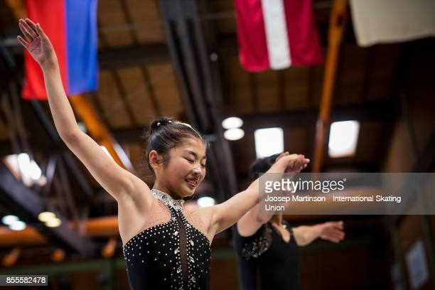 Tae Ok Ryom and Ju Sik Kim of DPR Korea react after competing in the Pairs Free Skating during the Nebelhorn Trophy 2017 at Eissportzentrum on...