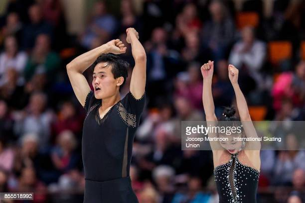 Tae Ok Ryom and Ju Sik Kim of DPR Korea react in the Pairs Free Skating during the Nebelhorn Trophy 2017 at Eissportzentrum on September 29 2017 in...