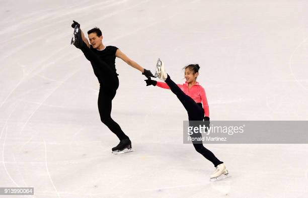 Tae Ok Ryom and Ju Sik Kim of North Korea practice ahead of the PyeongChang 2018 Winter Olympics at Gangneung Ice Arena on February 4 2018 in...