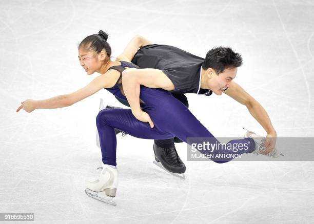 TOPSHOT Tae Ok Ryom and Ju Sik Kim of North Korea practise at Gangneung Ice Arena ahead of the pairs figure skating competition of the Pyeongchang...