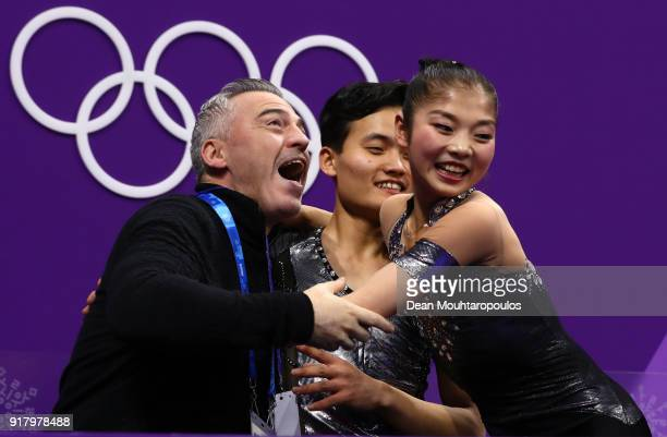 Tae Ok Ryom and Ju Sik Kim of North Korea react after receiving their score during the Pair Skating Short Program on day five of the PyeongChang 2018...