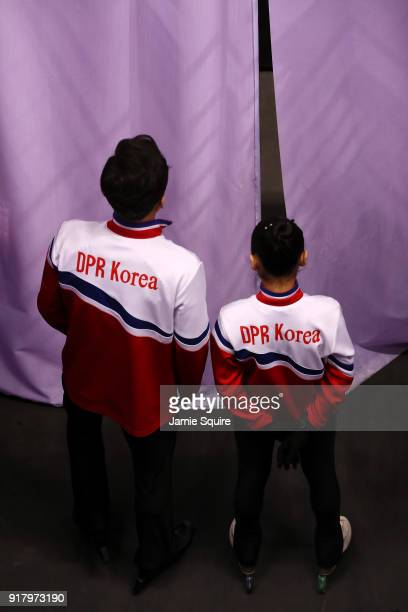 Tae Ok Ryom and Ju Sik Kim of North Korea wait for their introduction during the Pair Skating Short Program on day five of the PyeongChang 2018...