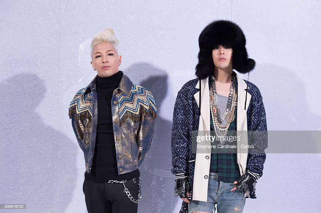 Tae Yang and G-Dragon attend the Chanel show as part of Paris Fashion Week Haute-Couture Spring/Summer 2014, at Grand Palais in Paris.