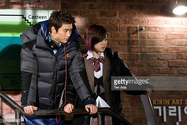 TaecYeon and EungJung are seen during the KBS 2TV Drama 'Dream High' filming on January 25 2011 in Gyeonggido South Korea