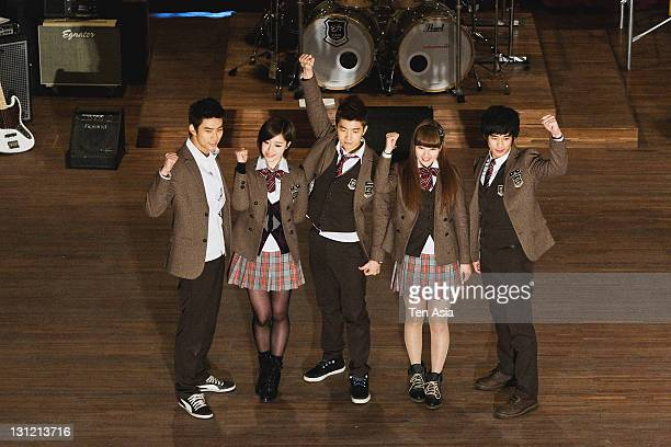 TaecYeon EungJung WooYoung SuZy and Kim SooHyun are seen during the KBS 2TV Drama 'Dream High' filming on January 25 2011 in Gyeonggido South Korea