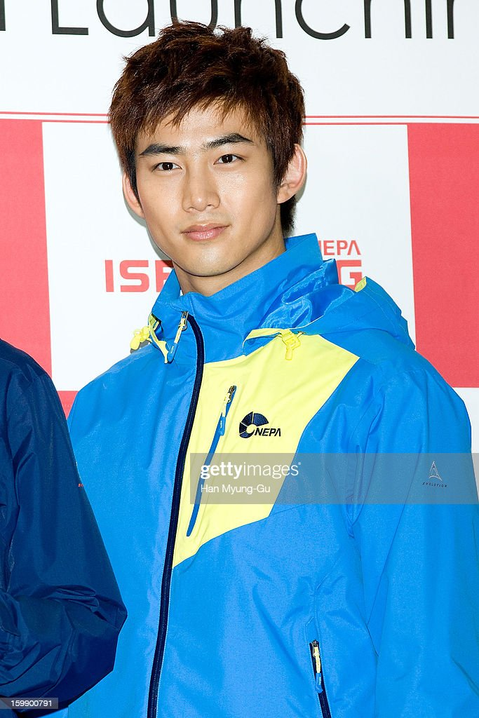 Taecyeon of South Korean boy band 2PM attends a promotional event for the NEPA History Show 2013 'ISENBERG' Launching Show at COEX on January 22, 2013 in Seoul, South Korea.