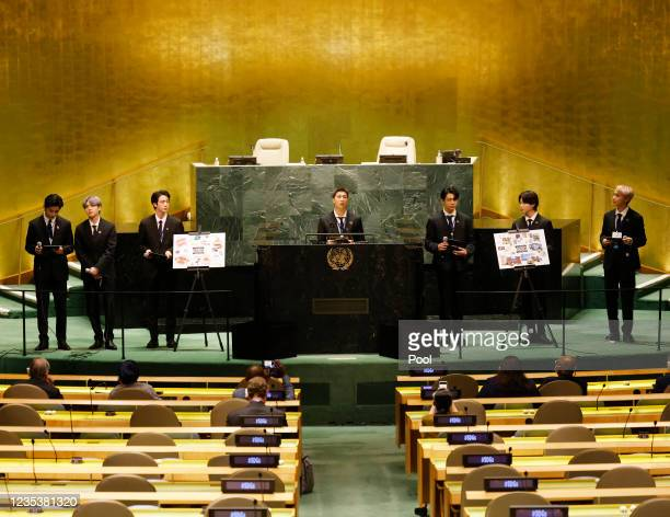 Taehyung/V, Suga, Jin, RM, Jungkook, Jimin and JHope of South Korean boy band BTS speak at the SDG Moment event as part of the UN General Assembly...