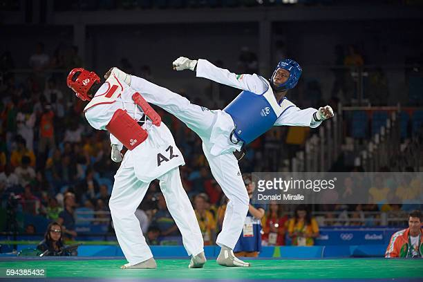 2016 Summer Olympics Azerbaijan Radik Isaev in action vs Niger Abdoulrazak Issoufou Alfaga the Men's over 80kg Final at Carioca Arena 3 Rio de...