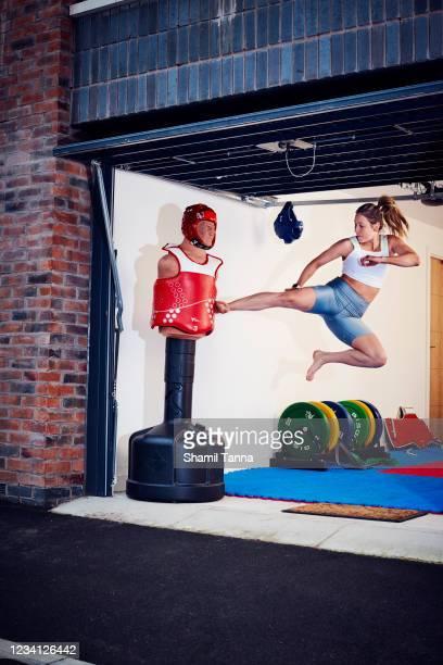 Taekwondo athlete Jade Jones is photographed for the Sunday Times magazine on July 8, 2020 in Manchester, England.