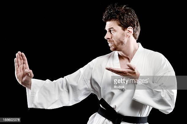 postura luchador de taekwondo - taekwondo fotografías e imágenes de stock