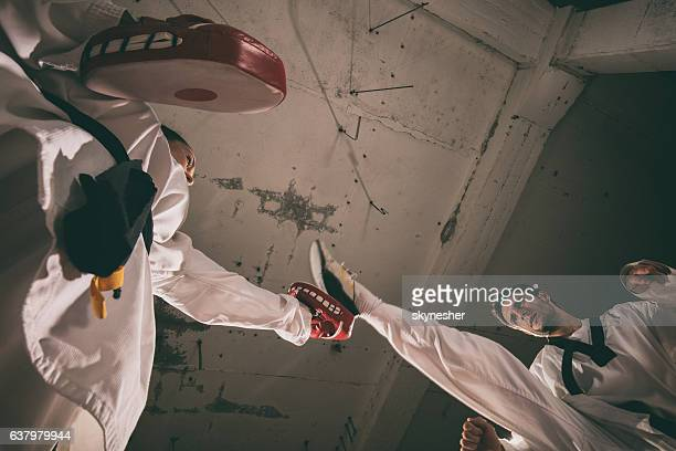 Taekwondo fighter practicing high kick with help of sparring partner.