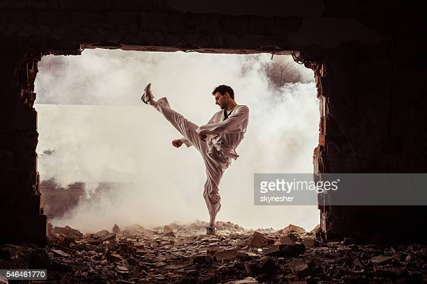 Taekwondo fighter practicing martial arts among ruins.