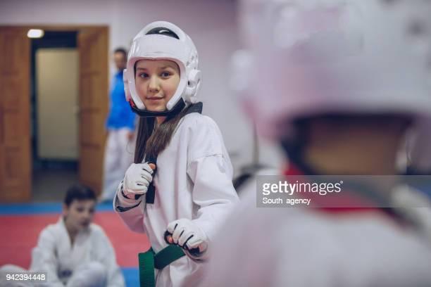 taekwondo girl - judo stock pictures, royalty-free photos & images