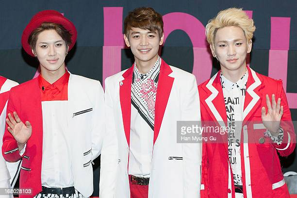 Taemin Minho and Key of South Korean boy band SHINee attend an autograph session for the 'InterPark' on May 3 2013 in Seoul South Korea