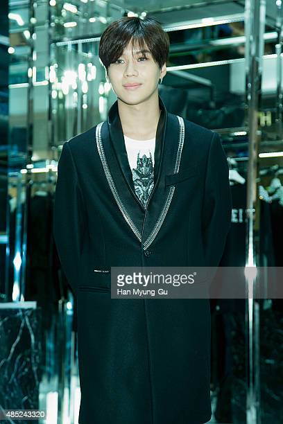 Taemin of South Korean boy band SHINee attends the opening event for Philipp Plein Hyundai Pangyo Store at Hyundai Department Store on August 26 2015...