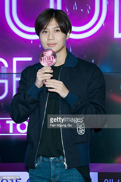 Taemin of South Korean boy band SHINee attends the Seoul premiere of SM Entertainment 'SMtown The Stage' on August 4 2015 in Seoul South Korea The...