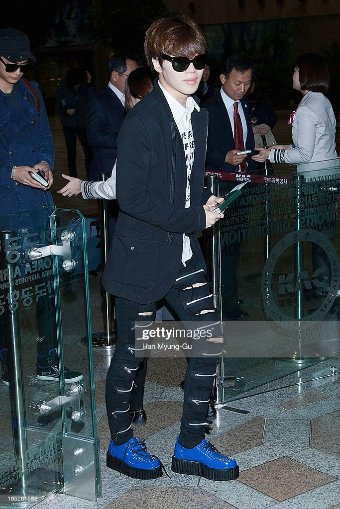 Taemin of South Korean boy band SHINee is seen on departure to Japan at Gimpo International Airport on April 2, 2013 in Seoul, South Korea.