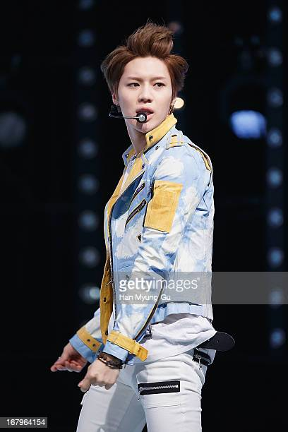 Taemin of South Korean boy band SHINee performs onstage during the Mnet 'M CountDown' at CJ EM Center on May 02 2013 in Seoul South Korea