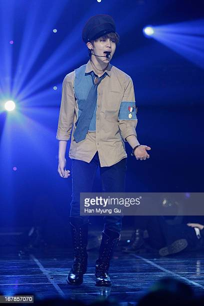 Taemin of South Korean boy band SHINee performs onstage during the MBC Music 'Show Champion' at UniqloAX Hall on May 1 2013 in Seoul South Korea