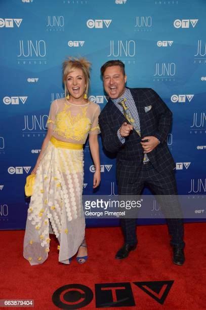 Taes Leavitt and Nick Adams of Splash'N Boots arrive at the 2017 Juno Awards at Canadian Tire Centre on April 2 2017 in Ottawa Canada
