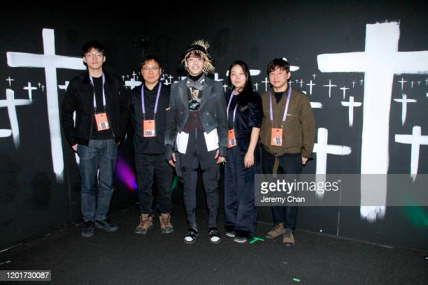 """Taewan Jeong, Sngmoo Lee, a guest, Jihyun Jung and Cooper Yoo of """"Scarecrow"""" attend the New Frontier Press Preview during the 2020 Sundance Film..."""