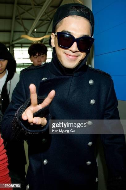 Taeyang of South Korean boy band Big Bang is seen at Incheon International Airport on November 28 2012 in Incheon South Korea