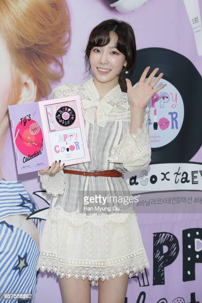 Taeyeon of South Korean girl group Girls' Generation attends the autograph session for 'Banila Co.' on March 25, 2017 in Seoul, South Korea.