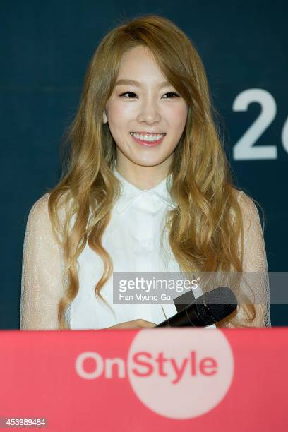 "Taeyeon of South Korean girl group Girls' Generation attends the press conference for OnStyle ""The TaeTiSeo"" at CJ E&M Center on August 22, 2014 in..."
