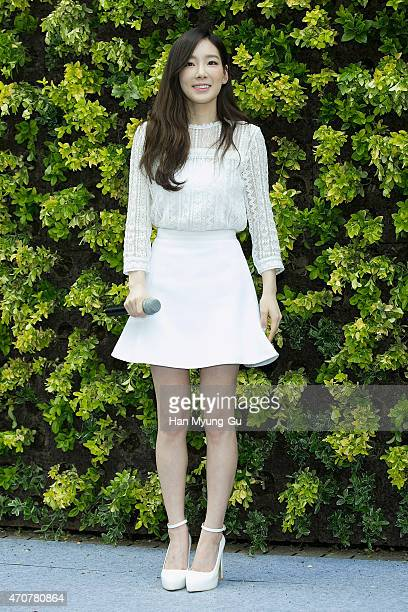Taeyeon of South Korean girl group Girls' Generation attends the store opening event for Nature Republic Cosmetic Myeongdong Store on April 23 2015...