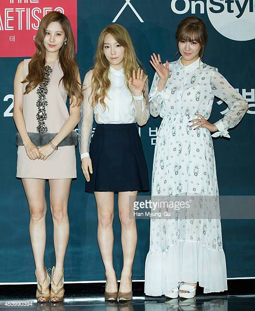 Taeyeon Tiffany and Seohyun of South Korean girl group Girls' Generation attends the press conference for OnStyle 'The TaeTiSeo' at CJ EM Center on...