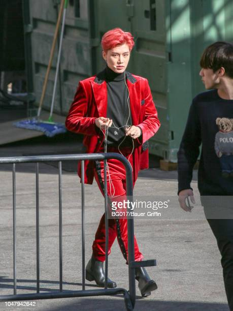 Taeyong of boy band 'NCT 127' is seen arriving at 'Jimmy Kimmel Live' on October 08 2018 in Los Angeles California