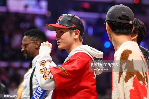 Taeyong of NCT 127 looks on during a NBA game between the Portland Trail Blazers and the Los Angeles Clippers on December 3 2019 at STAPLES Center in...