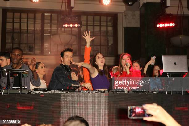 Tafari Hinds Nick Grimshaw Danielle Haim Alana Haim and guests attend the Universal Music BRIT Awards AfterParty 2018 hosted by Soho House and...