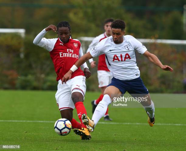 Tafari Moore of Arsenal holds of Anthony Georgiou of Spurs during Premier League 2 Div 1 match between Tottenham Hotspur Under 23s against Arsenal...