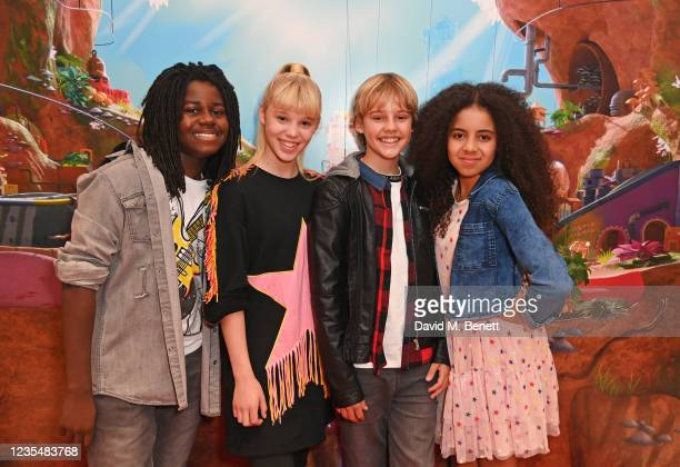"""Tafari, Sadie, Toby and Chanel of Kidzbop attend the red carpet premiere of new animated children's series """"Moley"""" at Odeon Luxe Leicester Square on..."""