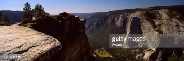 Taft Point Yosemite NP California looking north west towards El Capitan scene of a famous Ansel Adams